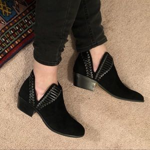 Vince Camuto Pevista Black Suede Open Side Booties